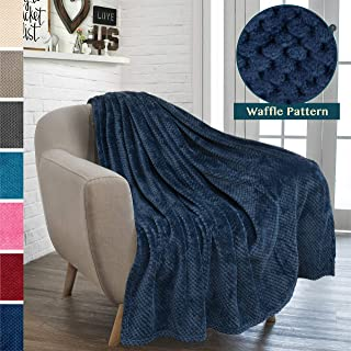 PAVILIA Premium Flannel Fleece Throw Blanket for Sofa Couch | Navy Blue Waffle Textured Soft Fuzzy Throw | Warm Cozy Microfiber | Lightweight, All Season Use | 50 x 60 Inches