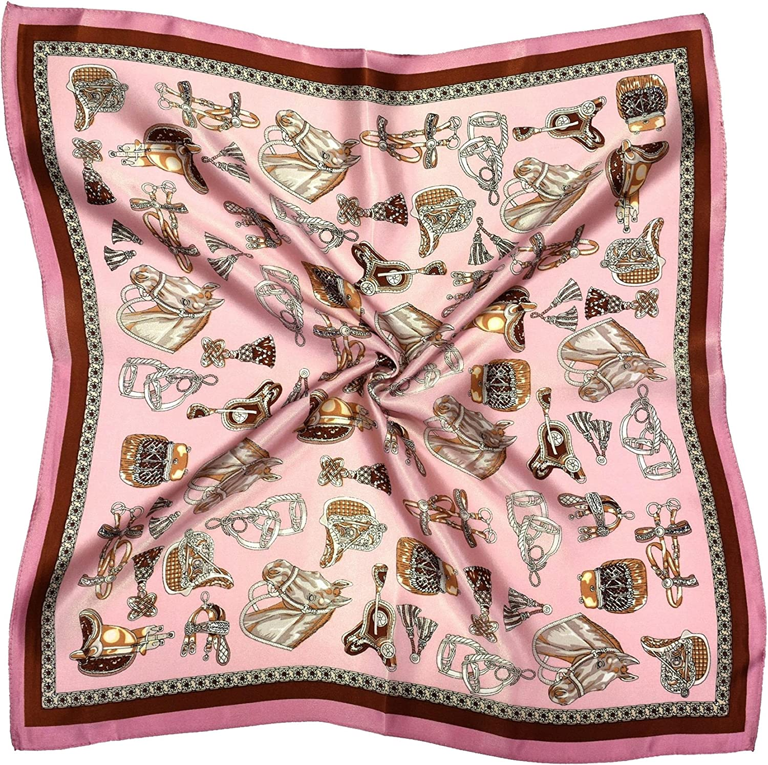 Brown Pink Horses Thick Silk Small Square Scarf