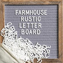Message Board with 10x10 Inch Rustic Wood Frame, Felt Letter Board with Script Words, Precut Letters, Picture Hangers, Farmhouse Wall Decor, Shabby Chic Vintage Decor, Grey (Gray)