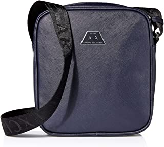 AX Armani Exchange All Over Logo Embossed Eco Leather Reporter Bag