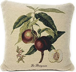 "DaDa Bedding Throw Pillow Cover - Luxury Elegant Decorative Accent Red Nectarine Peach Fruit Tapestry Woven for Couch Sofa 1 Piece Tapestry Cushion Cover - 18"" x 18"""