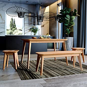 Krok Wood Esstisch Paris Aus Massivholz In Buche 200 X 100 X 75 Cm Amazon De Kuche Haushalt