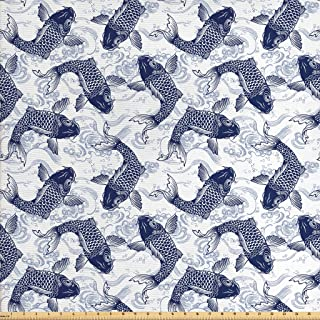 Ambesonne Fish Fabric by The Yard, Japanese Carp Koi with Wave Patterned Background Ancestral Animals Culture, Decorative Fabric for Upholstery and Home Accents, 1 Yard, Blue White