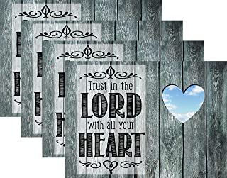 Blissful Living Set of 4 Placemats, Heat and Stain Resistant - Decorate Your Kitchen Table with Our Beautiful Rectangle pad placemat (Trust in The Lord Heart)