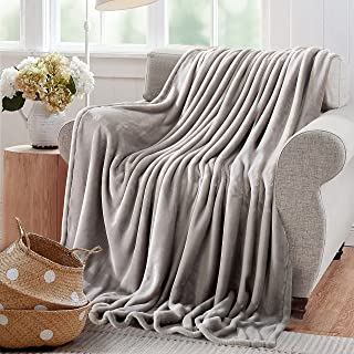 Reafort Ultra Soft Flannel Fleece All Season Light Weight Living Room/Bedroom Warm Blanket (Silver Grey, Throw 50