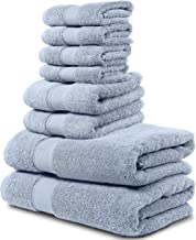 Maura 8 Piece Bath Towel Set. 2 Bath Towels, 2 Hand Towels, 4 Washcloths. Premium Quality Turkish Towels. Super Soft, Plush and Highly Absorbent. (Towel Set - Set of 8, Serenity Blue)