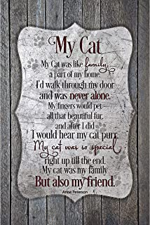 My Cat Wood Plaque with Inspiring Quotes 6x9 - Classy Vertical Frame Wall & Tabletop Decoration   Easel & Hanging Hook   M...
