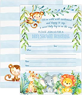 Boy Jungle Safari Baby Shower Invitations, Safari Animal Invitation, 20 Fill in Invitations and Envelopes, Blue Boy Baby Shower Party, Monkey, Lion, Elephant, Giraffe