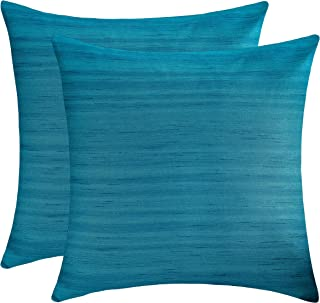 The White Petals Teal Euro Sham Covers (Faux Silk, 26x26 inch, Pack of 2)