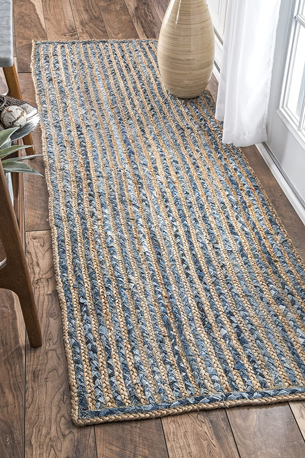 nuLOOM Dara Striped Jute Runner Lowest price challenge Rug x Blue 10' 2' Year-end annual account 6
