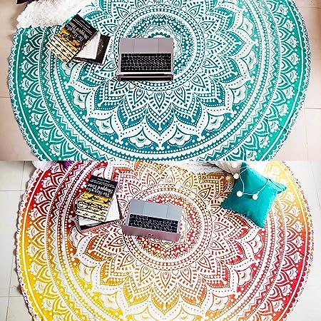 "Mandala Table Cloth 72/"" Round Beach Blanket Indian Ethnic Hippie Cotton Yoga Mat"
