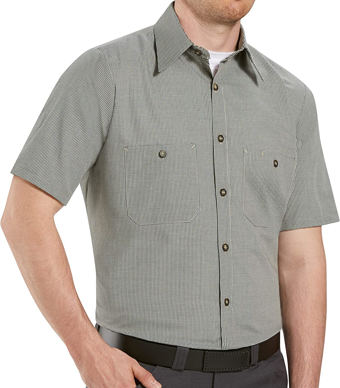 Red Kap Men's Micro-Check Uniform Shirt, Khaki/Black Check, Short Sleeve