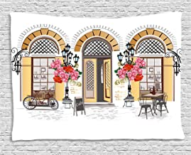 Lunarable Urban Tapestry, European Coffee Shop at Paris Streets with Flowerbeds and Lanterns Romantic Print, Wide Wall Hanging for Bedroom Living Room Dorm, 80