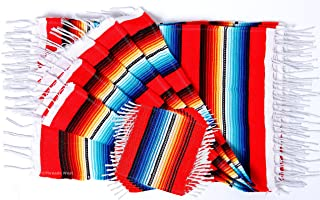 Threads West Colorful Fringed Mexican Serape Place Mats and Coasters Designed in Traditional Mexican Serape Blanket Material. Set of 6 Placemats and 6 Coasters (Red)