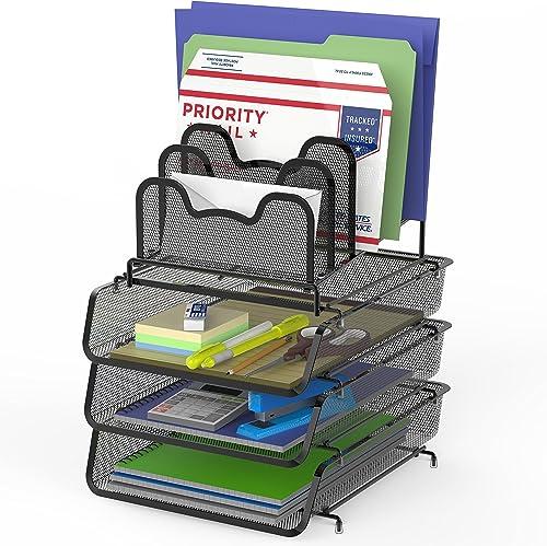 discount SimpleHouseware 3-Pack Stackable Desk File Document Letter Tray lowest w/ online sale 5 Compartments Step File Organizer, Black online