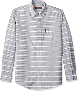 Ben Sherman Men's LS HORIZ Stripe Shirt, Light ash Marl, XL