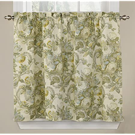 Amazon Com Waverly Tie Spring Bling Rod Pocket Curtains For Kitchen And Bathroom Double Panel 52 X 36 Platinum Home Kitchen