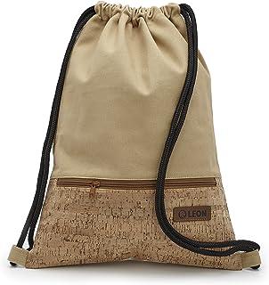 By Bers LEON Turnbeutel mit Innentaschen in Kork oder Schlange -DesignRucksack Tasche Damen Herren & Teenager Gym Bag Draw String Kork_Beige