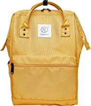Kah&Kee Polyester Backpack with Laptop Compartment Waterproof Anti-theft Travel School for Women Man (Yellow, Large)