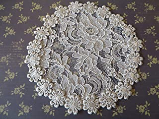 Handmade grey lace hair doily head cover with daisy trim, Women`s Kippah, Lady`s Yarmulke, Hair Covering (with decorative bobby pin) (Style 514) Elegant Doily Exclusive