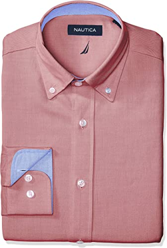 Nautica Hommes's Classic Fit Button Down Collar Oxford Robe Shirt, rouge, 16 34 35