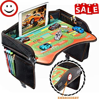 Travel Tray - Ideal as Kids Travel Tray - Toddler Travel Tray & Baby Stroller Tray - Travel Activity Tray & Play Tray - Baby Snack Tray & Kid's Car Seat Tray - Play Table (Premium Black)