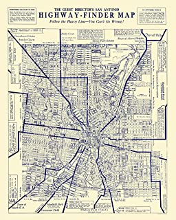MAPS OF THE PAST San Antonio Texas Highway Finder - 1929-23 x 28.73 - Glossy Satin Paper