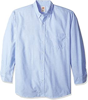 SS36LB Polyester/Cotton Men's Button-Down Long Sleeve Oxford Shirt, Light Blue
