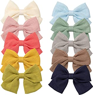 10 pcs Baby Girls Hair Bows with Lined Clips Hair Barrettes Accessory for Babies Infant Toddlers Kids Gifts