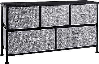 Amazon Basics Commode extra large pour armoire - 5 tiroirs en tissu - noir