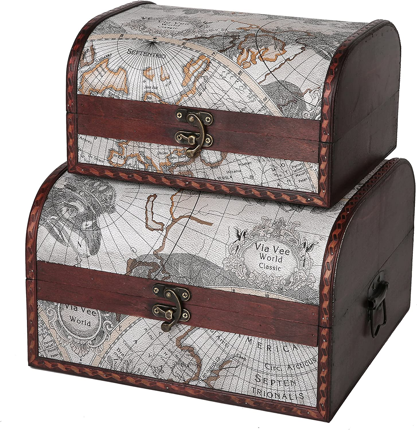 SLPR First Class Wooden Fashion Storage Chest Set Map of Max 84% OFF Old 2 Deco