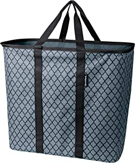 CleverMade Collapsible Laundry Basket, Large Foldable Clothes Hamper Bag, SnapBasket LaundryCaddy CarryAll Pop Up Storage Tote, Charcoal/Black Quatrefoil