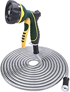 TheFitLife Stainless Steel Metal Garden Hose 304 Stainless Steel Water Hose with Solid Metal Fittings and Newest Spray Nozzle, Lightweight, Kink Free, Durable and Easy to Store (100 Feet)