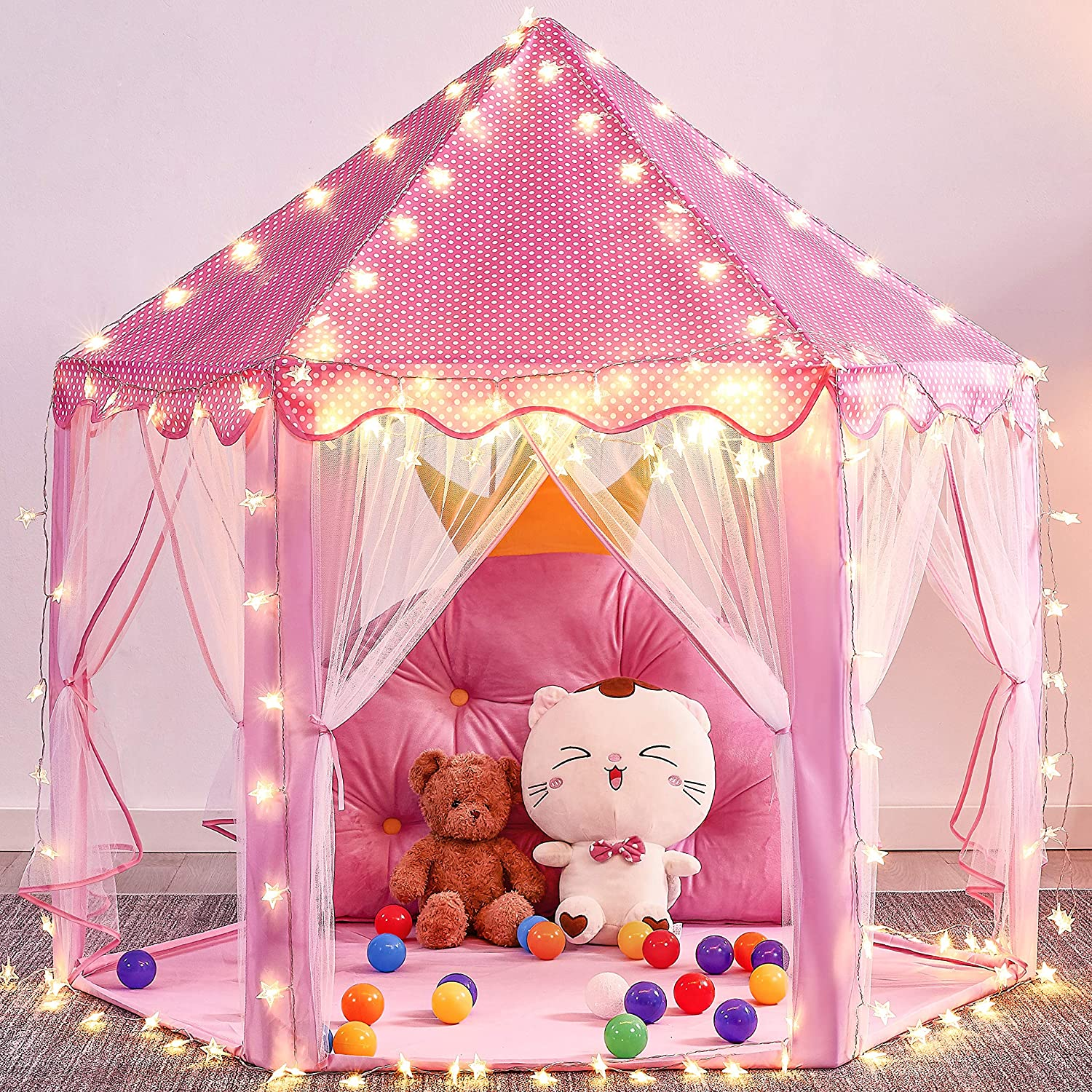 """Mooner Girls Play Max 57% OFF New arrival Pink Tent 55x53"""" Large Toys Princess"""