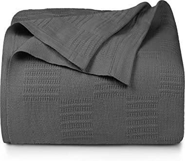 Utopia Bedding Premium Cotton Blanket Queen Grey - Soft Breathable Thermal Blanket 350 GSM - Ideal for Layering Any Bed