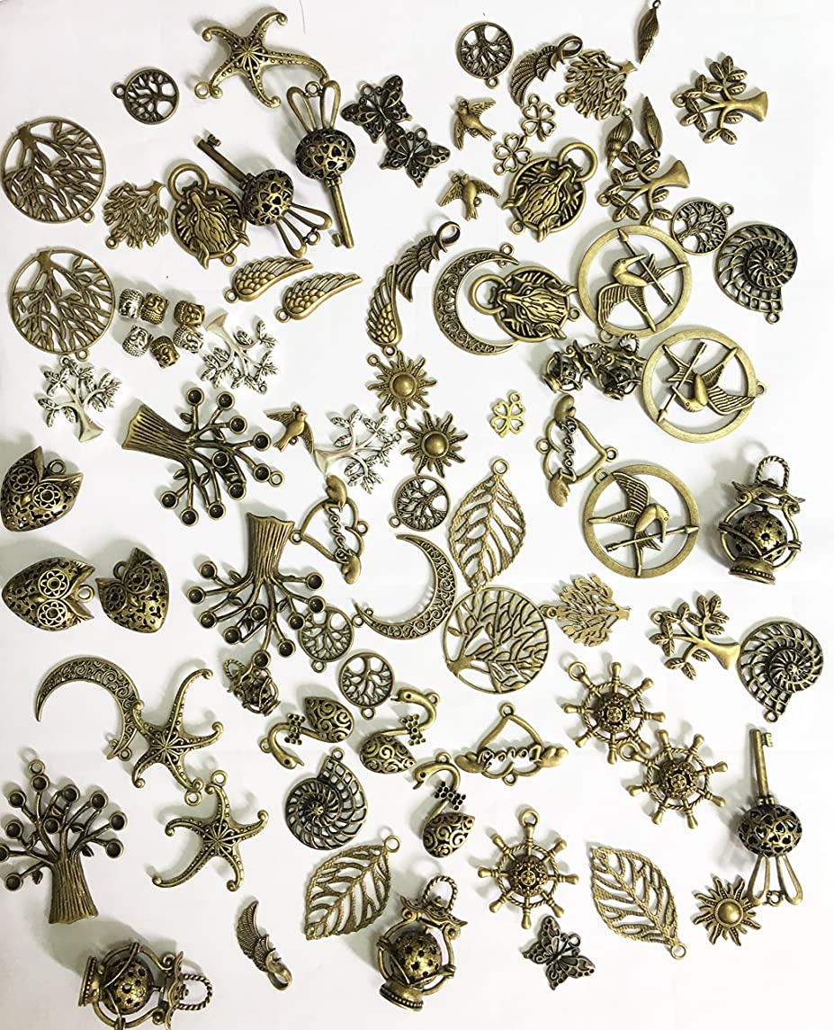 Salome Idea DIY-80 Antique Different disign charms pendants, Mix DIY for jewelry making and crafting, Bronze