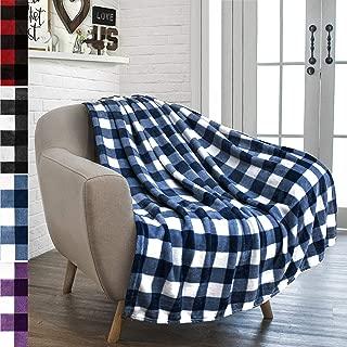 PAVILIA Flannel Fleece Throw Blanket for Sofa Couch | Super Soft Velvet Plaid Pattern Checkered Decorative Throw | Warm Cozy Lightweight Microfiber | 50 x 60 Inches Checker Navy/White