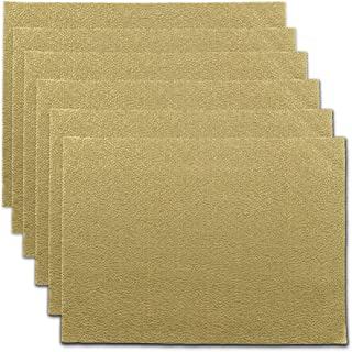 CAIT CHAPMAN HOME COLLECTION Holiday Woven Texture Design PVC Rectangular Heat Insulation Texteline Placemat (Gold), Set of 6