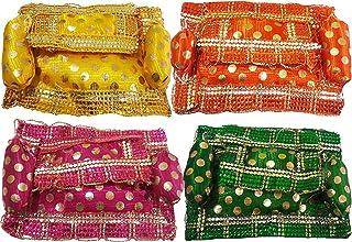 Salvus APP SOLUTIONS Handmade Multicolor Aasan Set for Laddu Gopal & Other Gods, Set of 4 (Yellow, Orange, Green & Pink)