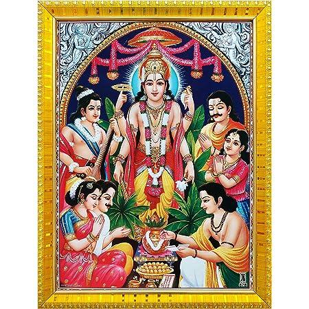 Koshtak Sri Satyanarayan Swamy Vishnu Avatar ji Giving Blessing Photo Frame with Laminated Poster for puja Room Temple Worship/Wall Hanging/Gift/Home Decor (30 x 23 cm)