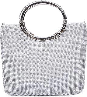 CLOCOLOR Bolso de mano con diamantes cristales brillantes cartera de mano con asas estilo elegante con gran espacio bolso ...