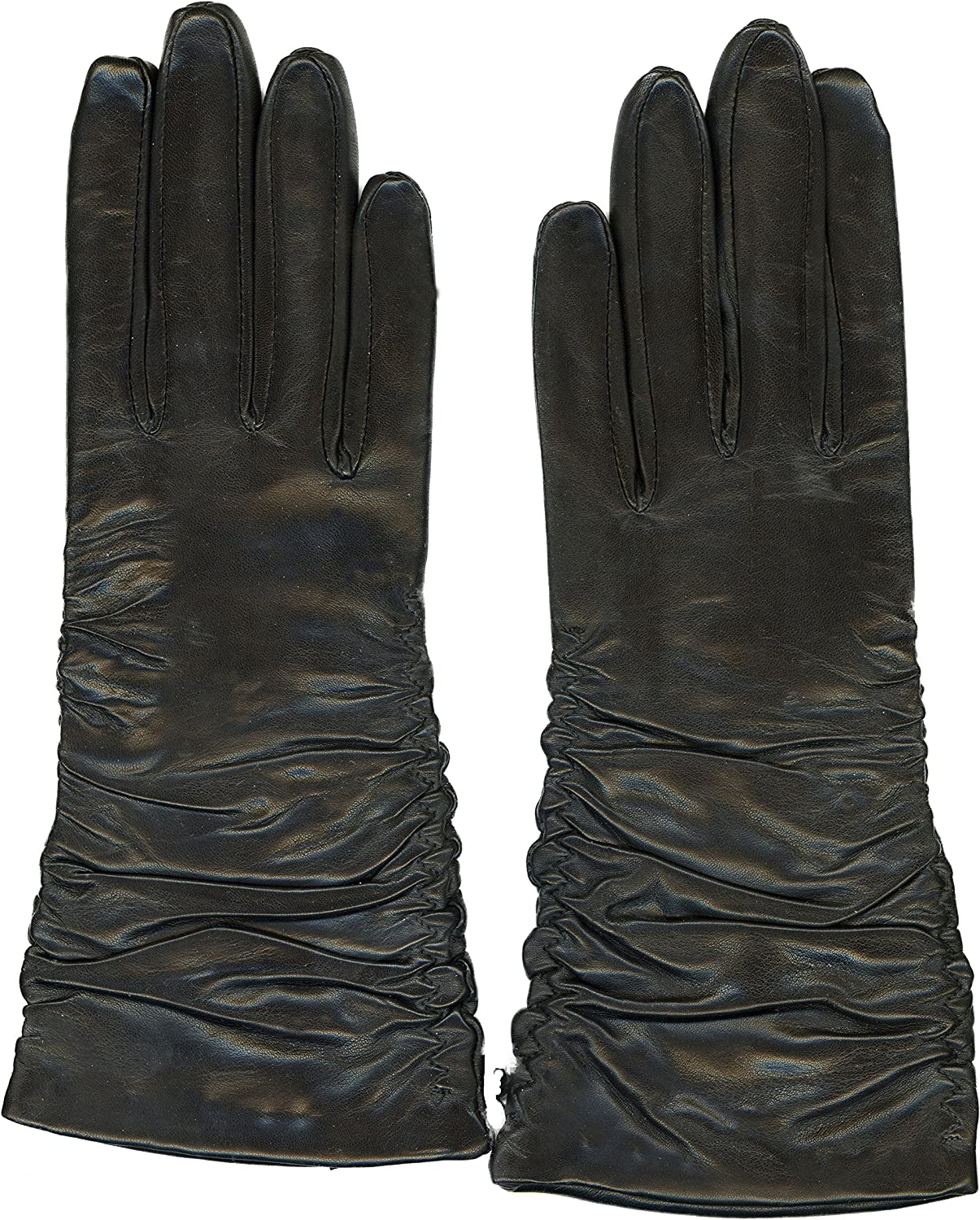 100% Sheepskin Leather Over item Max 57% OFF handling ☆ Gloves for Women btn L 3 Ruched Style