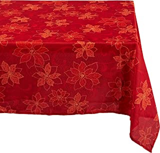 Benson Mills Poinsettia  Scroll Printed Fabric Tablecloth, 60-Inch-By-120-Inch