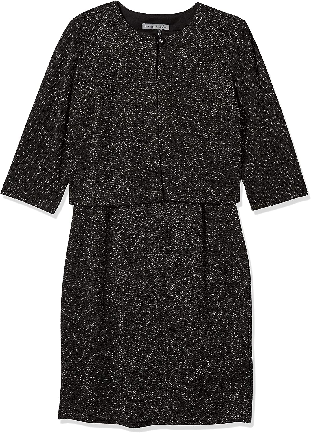 Danny and Nicole Women's Petite Two Piece 3/4 Sleeve Round Neck Jacket Dress