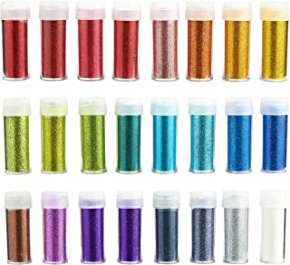 24-Pack Glitter Shaker - Glitter Powder Set - Fine Arts and Crafts Glitter Dust for Kids Slime, Scrap-Booking, Body, Face, Nails, Holiday Party Supplies, Non-Toxic, Assorted Colors, 10-Gram Per Jar