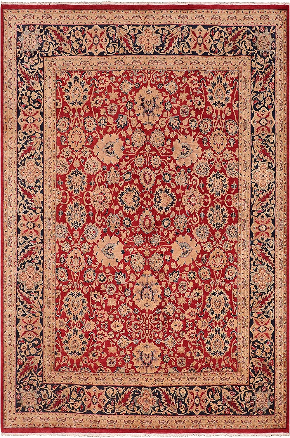 Antique Vegetable Dyed Mahal Jeanne Red Ranking Fort Worth Mall TOP19 Wool x Blue - Rug 8'5''
