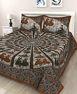 UNIBLISS 100% Cotton Rajasthani Jaipuri Traditional King Size Double Bed Bedsheet with 2 Pillow Covers - (Jaipuri_Bed11)