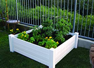NuVue Products Raised 48 by 48 by 15-Inch Garden Box Kit, Extra Tall, White