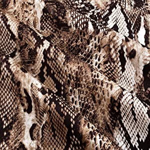 Telio Bloom Stretch Cotton Sateen Snakeskin Brown Fabric by the Yard
