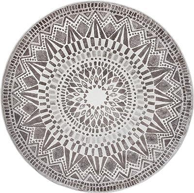 Vallila Mosaiikki Effect Ø 140 cm, Ecru, Elegant Design, Luxurious Viscose Rug, 140cm x 140cm